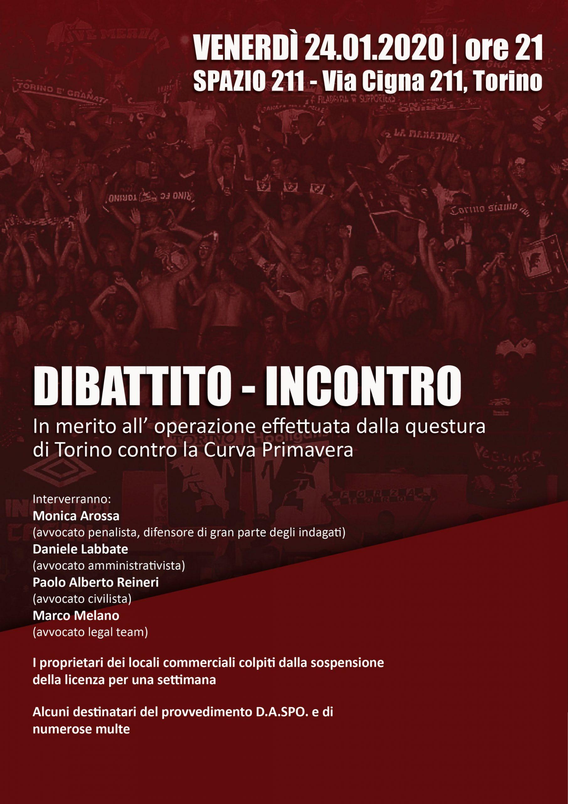 Curva Primavera: dibattito-incontro sull'operazione della questura di Torino